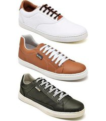 kit 3 pares de tênis sapatênis casual iate mac point masculino - masculino