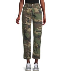 high-rise cropped camo pants