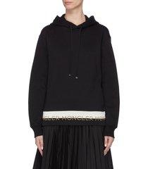 logo jacquard hem hoodie