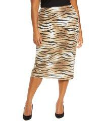 plus size women's leith tiger stripe midi skirt