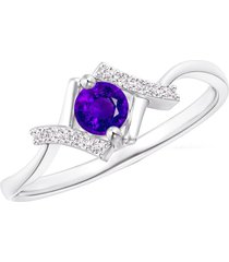 pure 925 silver purple amethyst 14k white rhodium fn solitaire with accents ring