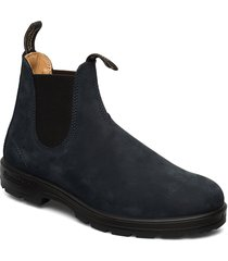 bl elastic side boot lined shoes chelsea boots blå blundst
