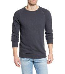 men's faherty slubbed crewneck sweatshirt, size medium - black