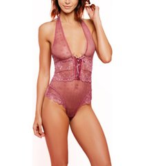 women's halter one piece floral dotted mesh teddy with velvet lace up