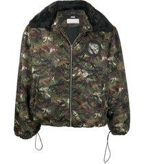 random identities camouflage-print hooded jacket - green