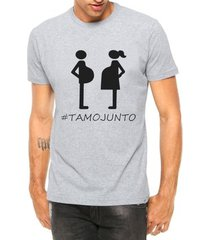 camiseta criativa urbana papai tamo junto grávidos manga curta - masculino