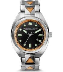original grain men's grainmaster burled mahogany with silver-tone stainless steel bracelet watch 45mm