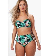 plus floral print high waist bikini, multi