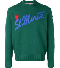 intarsia st. moritz knitted sweater green