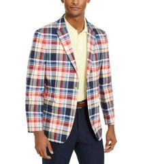 tommy hilfiger men's modern-fit thflex stretch madras plaid sport coat