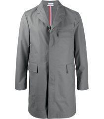 thom browne rubberised wool chesterfiled coat - grey