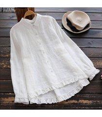 zanzea mujeres largo de volantes camisa ocasional tops botón flojo plisado dobladillo de la blusa plus -blanco
