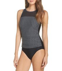 amoena ayon pocketed high neck one-piece swimsuit, size 8c in black/white at nordstrom