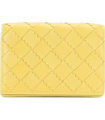 bottega veneta intrecciato weave card case - yellow
