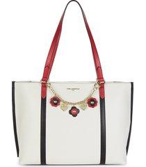 karl lagerfeld paris women's iris embellished tote - winter white