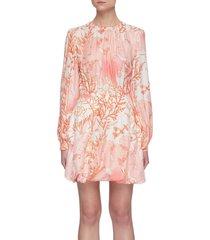 'amanda' coral print silk dress