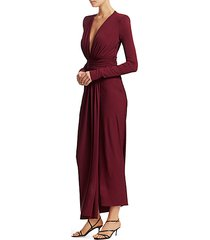 gathered jersey plunging long-sleeve gown