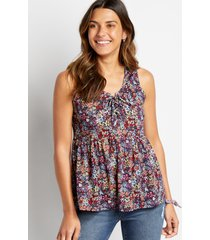 maurices womens blue floral lace up babydoll tank top