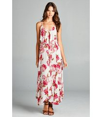 flirty boho ivory pink floral spaghetti side lace-up party cruise maxi jr dress