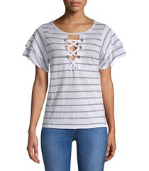 kiki lace-up stripe tee