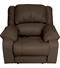 poltrona do papai reclinável elétrica com massagem magnum couro marrom fosco - gran belo