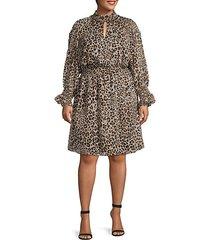 plus leopard-print smocked knee-length dress