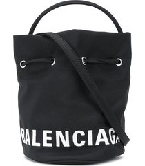 balenciaga wheel xs drawstring bucket bag - black