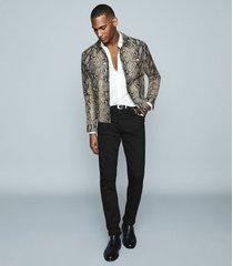 reiss houston - snake-effect leather jacket in ecru, mens, size xxl