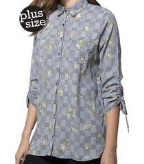 blusa mangas recogidas gris gouache