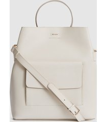 reiss freya - leather tote bag in off white, womens