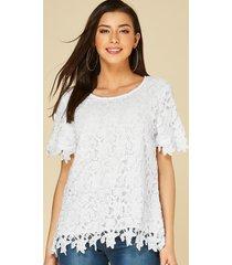 yoins blusa blanca de manga corta con adornos de encaje de ganchillo