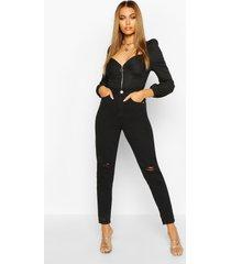 high waist distressed mom jeans, black