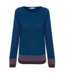 blusa feminina tricot zig zag - azul