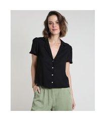 camisa feminina ampla manga bufante preta