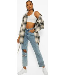 acid wash distressed boyfriend jeans, mid blue