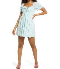 women's bp. smocked puff sleeve dress, size x-small - blue
