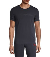 emporio armani men's textured logo crewneck t-shirt - marine - size m