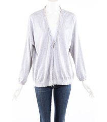 brunello cucinelli gray coton knit monili fringe cardigan sweater gray sz: s