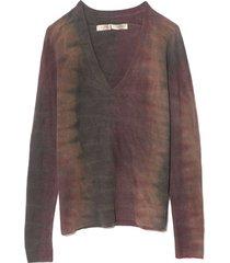 deep v pullover in dusty rainbow tie dye