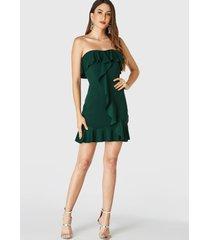 yoins mini vestido verde oscuro sin tirantes con ribete de volantes