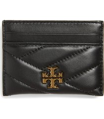 women's tory burch kira chevron leather card case - black