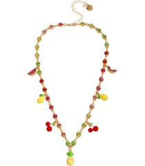 betsey johnson mixed fruit charm necklace