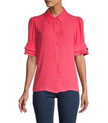 tommy hilfiger women's tiered-sleeve shirt - rosette - size m
