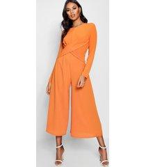 knot front woven culotte jumpsuit, orange