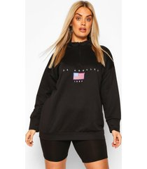 plus zachte oversized sweater met rits, zwart