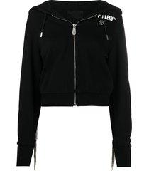 philipp plein rear-fringe detail hoodie - black