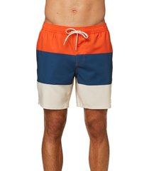 men's o'neill printed drawstring waist swim trunks, size medium - orange