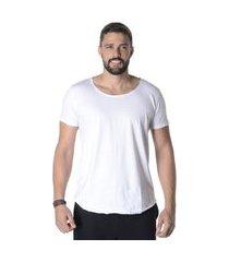 camiseta long line branca suffix lisa