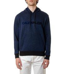 calvin klein blue cotton logo hoodie sweatshirt