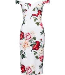 abito a rose con spalle scoperte (bianco) - bodyflirt boutique